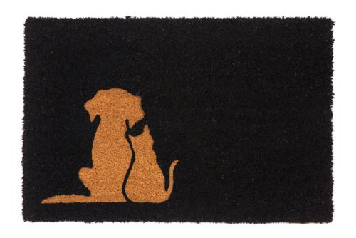Buddies Black and Natural pvc backed coir doormat
