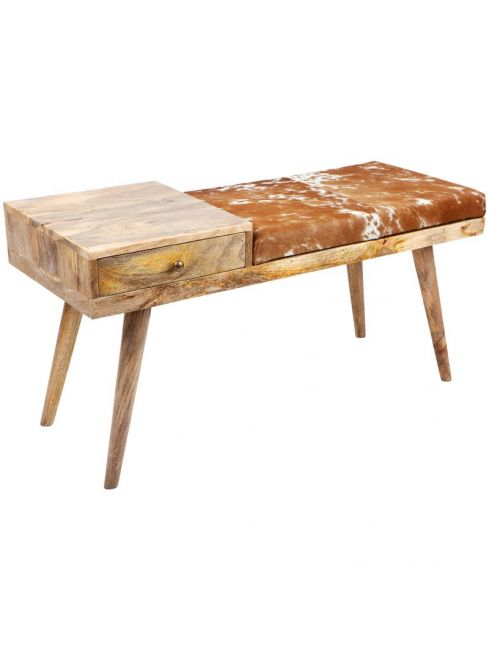 Aurora Hairon Leather & Wood Seating Bench with Drawer - 100 cm