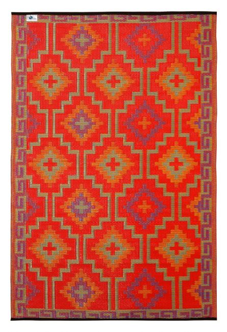 Lhasa Orange and Violet Moroccan Recycled Plastic Outdoor Rug