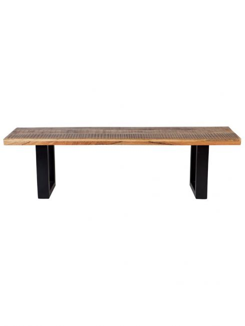Nova 3 Seater Long Wooden Seating Bench with Metal Legs - 160 cm