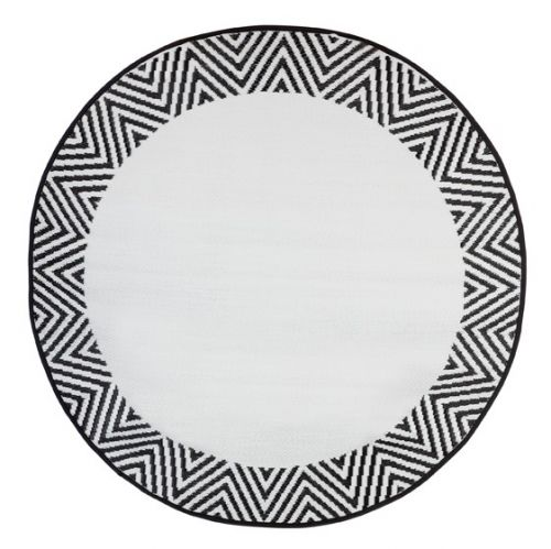 Olympia Black and White Recycled Plastic Round Outdoor Rug