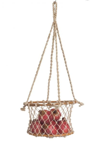 Prairie 1 Tier Jute and Rattan Hanging Basket for Fruits or Vegetables Storage