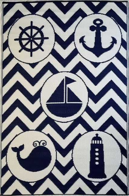 Little Portico's Sea Blue Objects Indoor/Outdoor Kids Rug