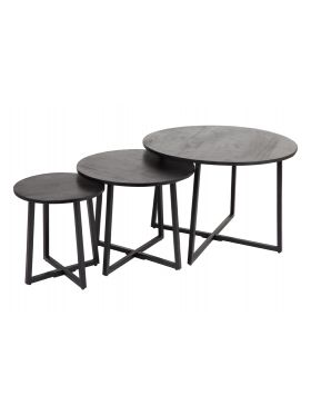 Rio Black Set of 3 Round Nested Coffee Table