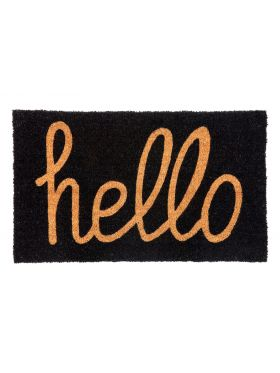 Hello Black and Natural PVC backed Coir Doormat