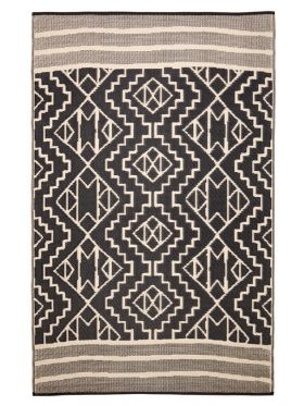 Kilimanjaro Beige and Black Tribal African Recycled Plastic Outdoor Rug