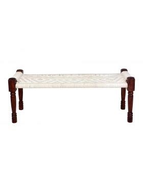 Atlas Woven Cotton White Braided Seating Bench or Charpai - 120 cm