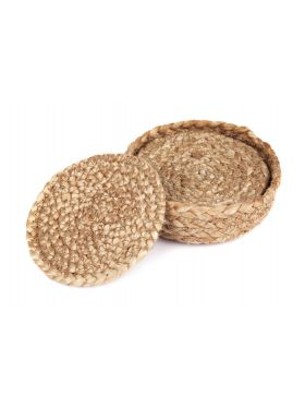 Set of 4 Willow 10 cm Natural Dining Jute Round Coaster with Holder