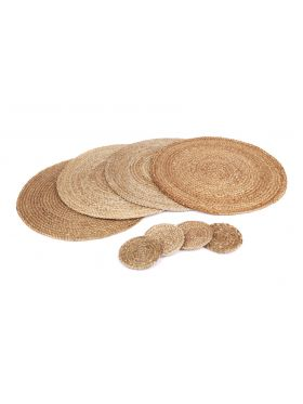 Set Of 4 Willow Natural Jute Round Placemats And Coasters