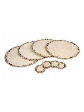 Linnet - Set Of 4 Handmade Jute Round Placemats And Coasters