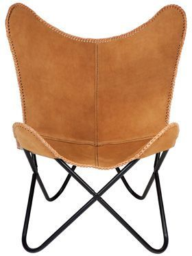 Argus Suede Genuine Leather Folding Tan Butterfly Chair