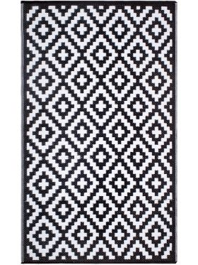 Aztec Black And White Monochrome Recycled Plastic Outdoor Rug