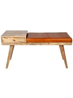 Castor Leather & Wood Seating Entryway Bench with Drawer - 100 cm