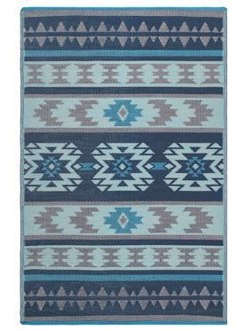 Cusco Tribal Blue Toned Recycled Plastic Reversible Outdoor Rug