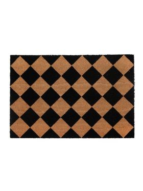 Diamond Pattern Black and Natural PVC Backed Doormat