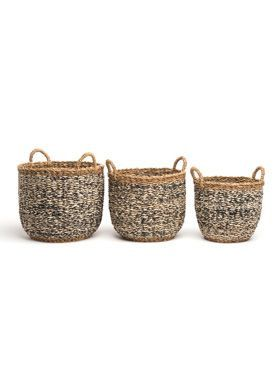 Set of 3 Ebony Handmade Grey Seagrass and Jute Storage Baskets & Planters with Handles