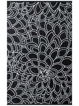 Eden Black and White Floral Recycled Plastic Outdoor Rug
