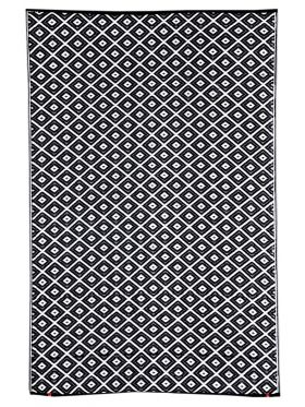 Kimberley Black and White Diamond Recycled Plastic Reversible Outdoor Rug