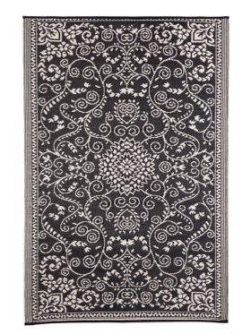 Murano Black and Cream Traditional Recycled Plastic Reversible Outdoor Rug
