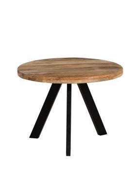 Faye Natural & Black Wooden Round Coffee Table