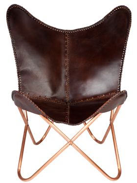 Montana Leather Folding Butterfly Chair with Copper Antique and Cow Leather Seat