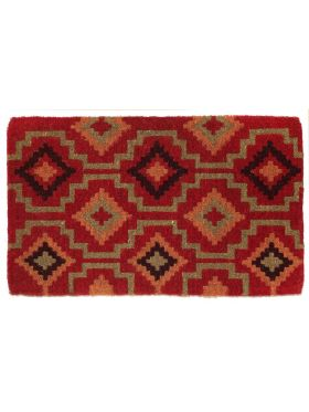 Lhasa Red and Natural Thick Coir Doormat