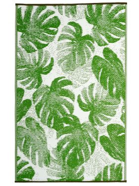 Panama Lime Green Botanical Recycled Plastic Outdoor Rug