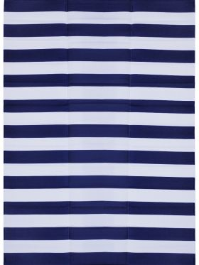 Brittany Blue & White Stripes Foldable Waterproof Large Camping Mat - 270x360 CM