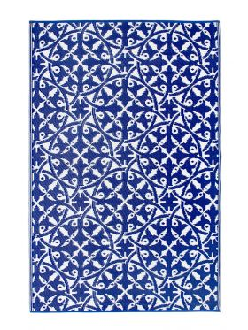 San Juan Blue and White Recycled Plastic Reversible Outdoor Rug