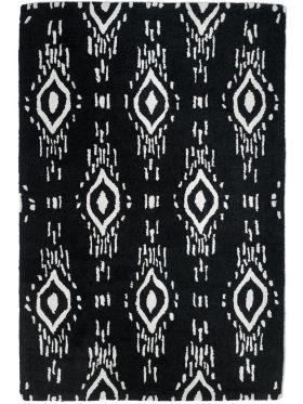 Surah Black and White Tribal P.E.T Indoor Outdoor Rug