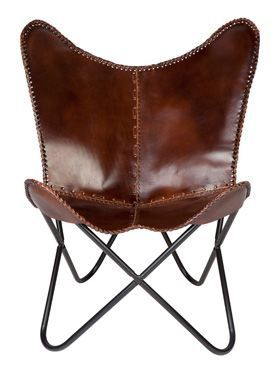 Woodland Genuine Leather Folding Tan Butterfly Chair