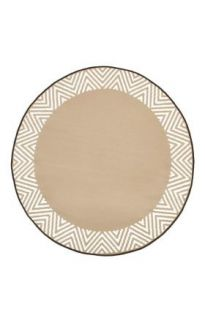 Olympia Beige & White Modern Recycled Plastic Round Outdoor Rug