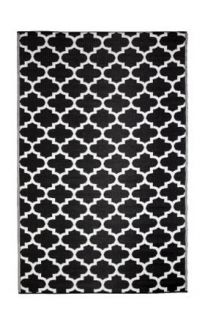Tangier Black and White trellis Recycled Plastic Outdoor Rug