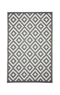 Aztec Grey And White Reversible Recycled Plastic Outdoor Rug
