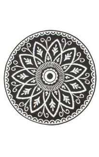 Benaras Black and White Floral Recycled Plastic Reversible Outdoor Rug