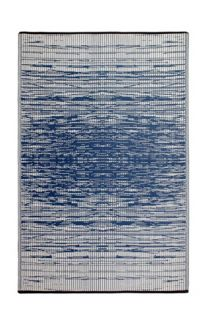 Brooklyn Navy and White Modern Recycled Plastic Reversible Outdoor Rug