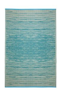 Brooklyn Teal and White Modern Recycled Plastic Reversible Outdoor Rug