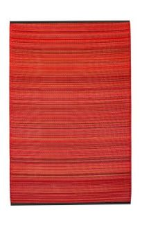Cancun Sunset Bright Red Toned Melange Recycled Plastic Outdoor Rug