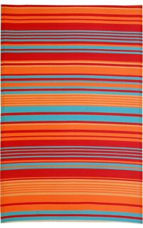Malibu Multicoloured Striped Recycled Plastic Reversible Outdoor Rug