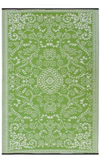 Murano Lime and Cream Traditional Recycled Plastic Reversible Outdoor Rug