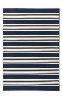 Mariona Blue Striped Outdoor Rug