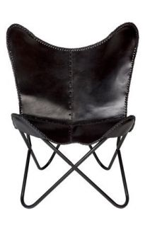 Monarch Black Genuine Leather Folding Butterfly Chair