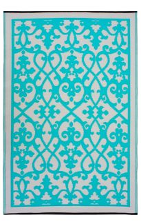 Venice Turquoise and Cream Traditional Recycled Plastic Outdoor Rug