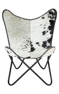 Zerene Hairon Black and White Genuine Leather Folding Butterfly Chair